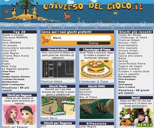 Universo del gioco è una sala giochi online per ragazzi con sezione multiplayer.
