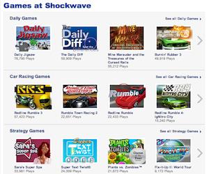 Shockwave, giochi online.
