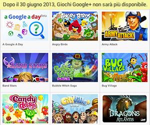 I Giochi Google+ chiudono.
