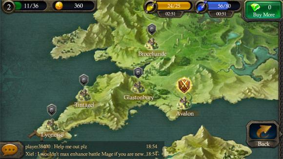 Eroi di Camelot: La mappa di gioco.